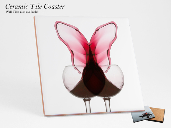 Red Wine Butterfly Coaster